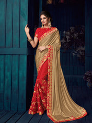 Gold Red Glitter Lycra Party Wear  Saree With Blouse