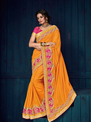 Orange Two Tone Silk Party Wear  Saree With Blouse
