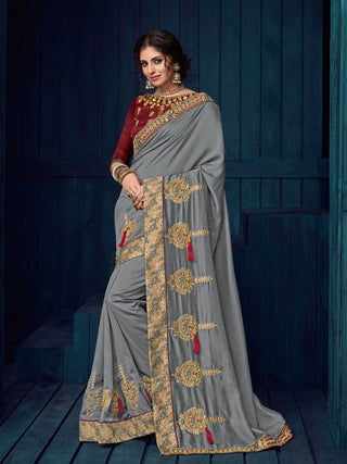 Grey Georgette Party Wear  Saree With Blouse