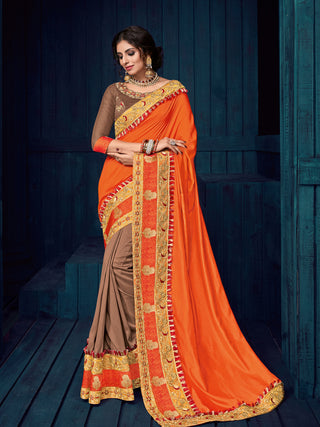 Orange Brown Two Tone Silk Party Wear  Saree With Blouse