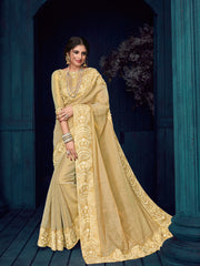 Beige Linnen Silk And Jari Party Wear  Saree With Blouse