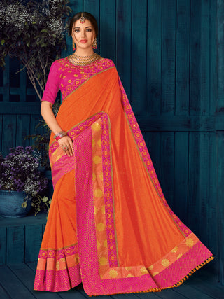 Orange Pink Two Tone Silk And Jari Party Wear  Saree With Blouse