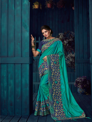 Peacock Green Paper Silk Party Wear  Saree With Blouse