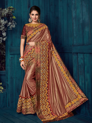 Brown Glitter Lycra Party Wear  Saree With Blouse