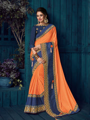 Orange Bright Georgette Party Wear  Saree With Blouse