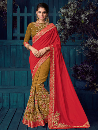 Red  Beige Two Tone Silk And Silk Party Wear  Saree With Blouse