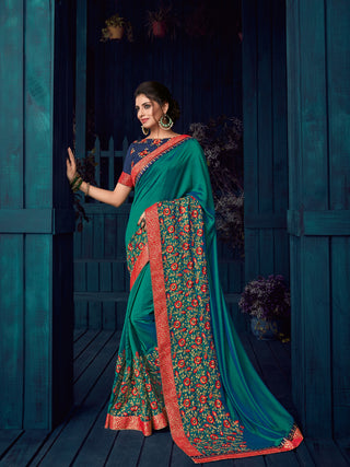 Green Two Tone Silk Party Wear  Saree With Blouse