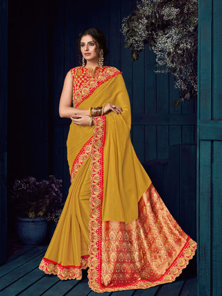 Yellow Linnen Silk Party Wear  Saree With Blouse
