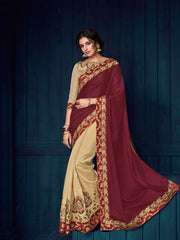 Maroon Beige Bright Georgette And Two Tone Silk Party Wear  Saree With Blouse