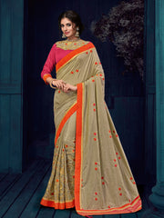 Beige Two Tone Silk Party Wear  Saree With Blouse