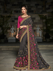 Black Silk Party Wear Saree With Magenta Blouse