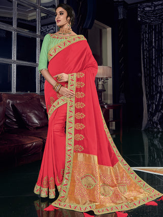 Red Silk Party Wear Saree With Light Green Blouse
