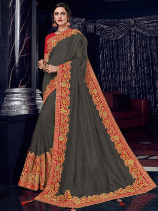 Brown Silk Party Wear Saree With Red Blouse