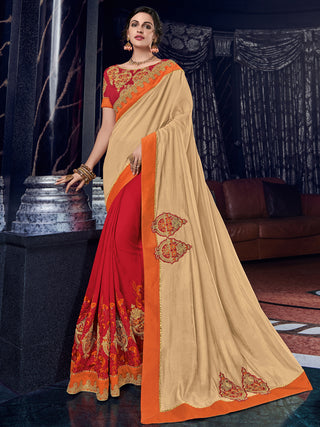 Beige  Red Silk Party Wear Saree With Red Blouse