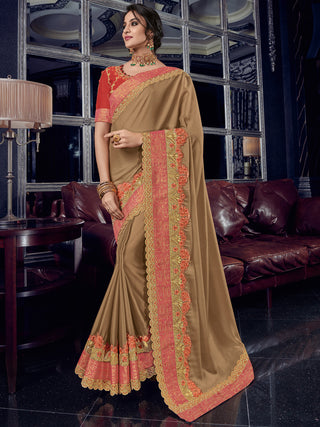 Beige Georgette Party Wear Saree With Red Blouse