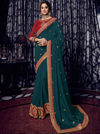 Peacock Green Silk Party Wear Saree With Red Blouse