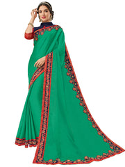 Green Silk Fabrics Embroidery Saree With Blouse