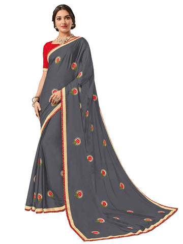 Grey Bright Georgette Embroidery Saree With Blouse