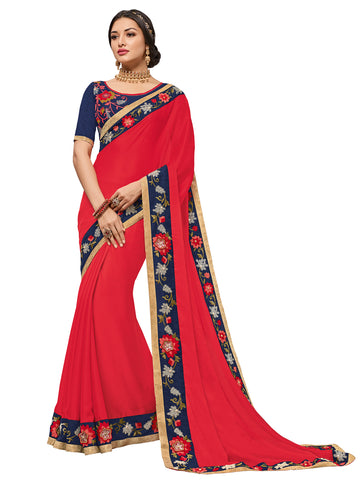 Red Moss Chiffon Embroidery Saree With Blouse