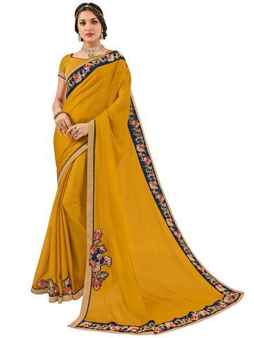 Yellow Moss Chiffon Embroidery Saree With Blouse