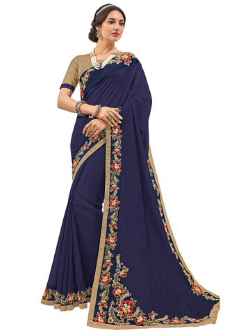 Violet Silk Fabrics Embroidery Saree With Blouse