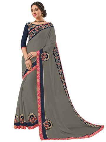 Grey Moss Chiffon Embroidery Saree With Blouse