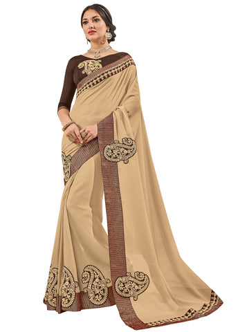 Beige Bright Georgette Embroidery Saree With Blouse