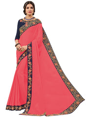 Pink Bright Georgette Embroidery Saree With Blouse