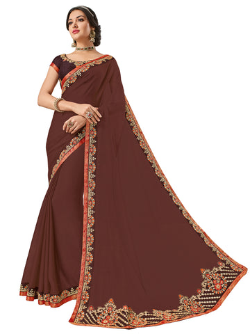 Brown Moss Chiffon Embroidery Saree With Blouse