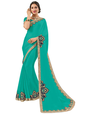 Green Moss Chiffon Embroidery Saree With Blouse