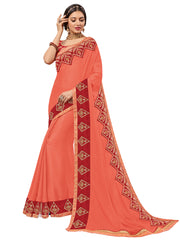 Peach Bright Chiffon Embroidery Saree With Blouse