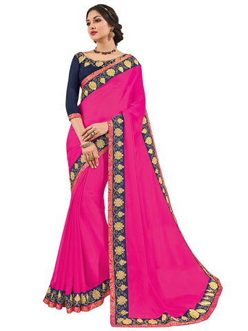 Magenta Moss Chiffon Embroidery Saree With Blouse