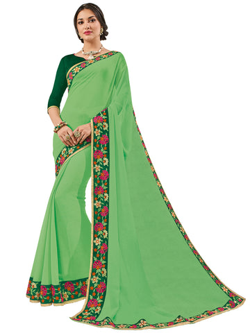 Green Georgette Pattern Embroidery Saree With Blouse