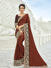 Brown Chiffon Party Wear  Saree With Brown Blouse