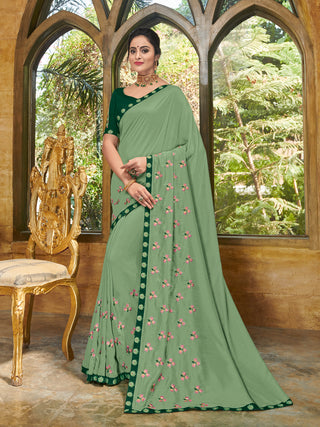 Green Georgette Party Wear Saree With Green Blouse