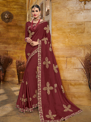 Maroon Georgette Party Wear Saree With Maroon Blouse