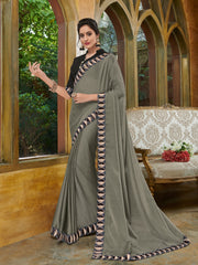 Grey Chiffon Party Wear Saree With Black Blouse