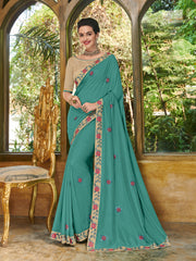 Green Georgette Party Wear Saree With Golden Blouse