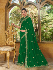 Green Silk Party Wear Saree With Green Blouse