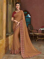 Brown Chiffon Party Wear Saree With Maroon Blouse