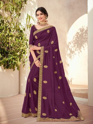 Purple Silk Party Wear Saree With Purple Blouse