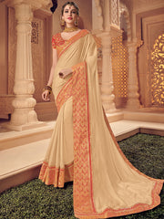 Beige Silk Party Wear Saree With Red  Golden Blouse