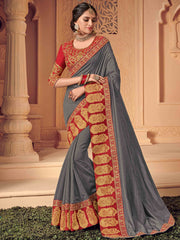 Grey Silk Party Wear Saree With Red  Golden Blouse