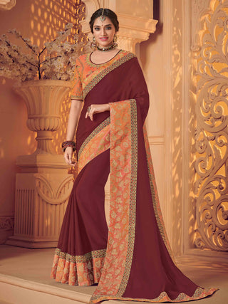 Maroon Satin Silk Party Wear Saree With Pink Blouse
