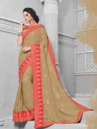 Beige Georgette Saree With Golden Blouse