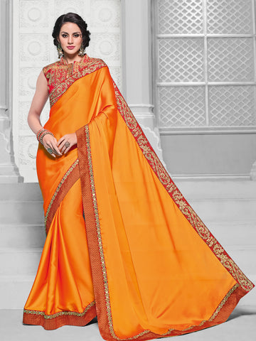 Orange Georgette Saree With Red Blouse