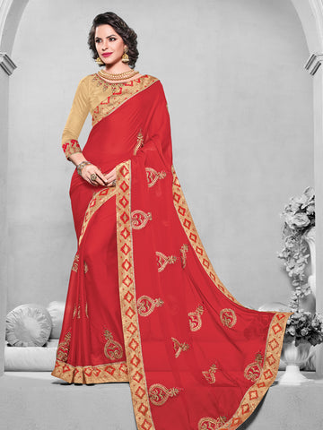 Red Chiffon Saree With Beige Blouse