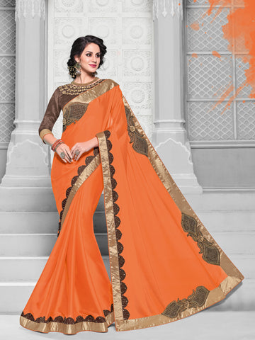 Orange Georgette Saree With Brown Blouse