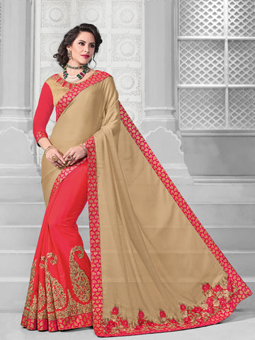 Beige & Red Chiffon Saree With Beige Blouse