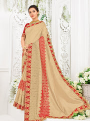 Beige Silk Fabrics Party Wear Saree With Blouse